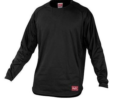 Baseball -Rawlings YUDFP2 Dugout Fleece Pullover - BLACK - YOUTH MEDIUM