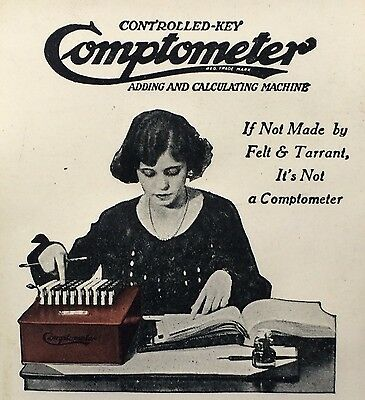 1924 Antique COMPTOMETER Adding Machine Celluloid Advertising Calendar CANTON OH
