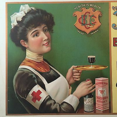 Antique CENTILIVRE Brewing TONIC Drug Medicine Red Cross NURSE Advertising SIGN