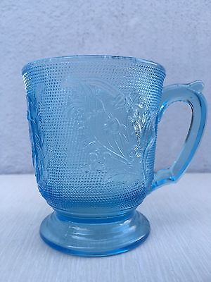 EAPG 1870's IN FOND REMEMBRANCE BLUE GLASS MUG CUP ROSE IN SNOW Bryce Bros