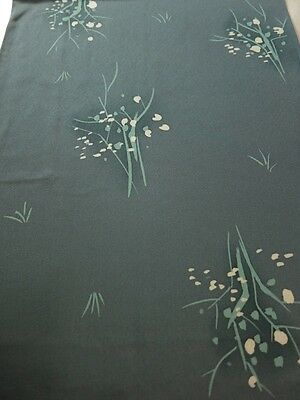 EE02z60 Japanese Kimono Silk  FABRIC Blue-Gray Trees 39.4""