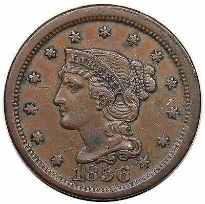 1856 Braided Hair Large Cent, Upright 5, N-12, XF detail