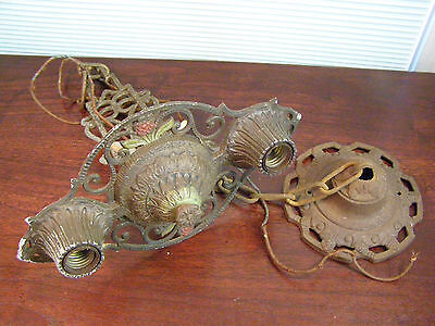 Antique Ornate Brass Hanging 2 Lite Ceiling Chandelier Light Lamp Fixture