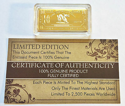 NEW 10 Gram Year Of The Dragon Certified Ingot Finished in 999 Fine 24 k Gold a