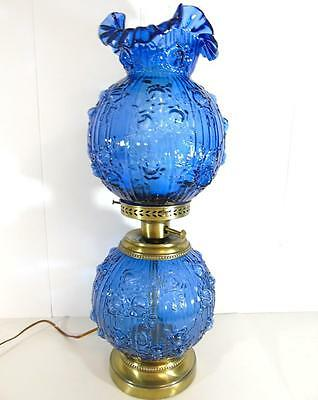 Vintage Fenton Art Glass Colonial Blue Cabbage-Puffy Rose Double Ball-Gwtw Lamp