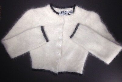 White Cropped Angora Cardigan  Size Small Juniors/ Womens Vintage by 5.7.9 .