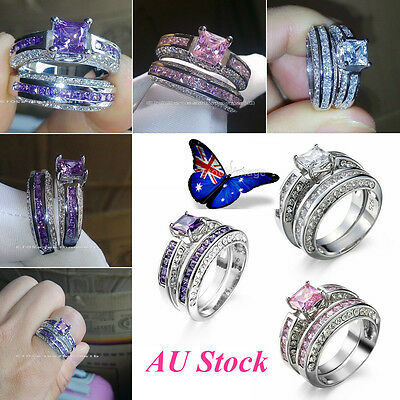 AU 925 Sterling Silver Plated Jewelry Princess Wedding Sets 2 Pcs Rings Gift