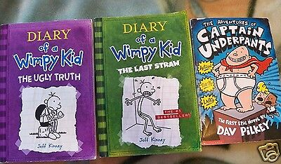 3 Chapter Books Grade 2-4 / Captain Underpants & Diary of a Wimpy Kid #3,5 - GUC