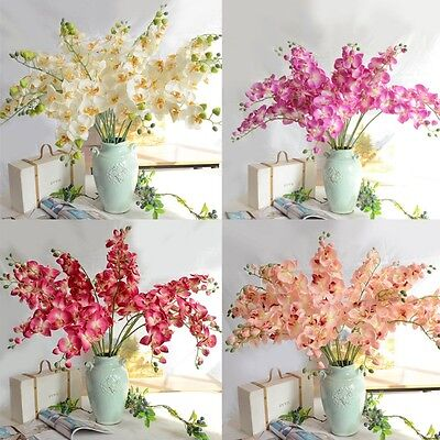 1PCS Artificial Butterfly Orchid Silk Flower Plant Party Wedding Home Decor NEW