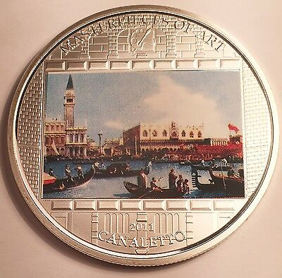 """2011 55mm Masterpieces Of Art """"Giovani Canaletto"""" Cook Islands 999 Silver HSE"""