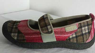 Keen Women's Size 6B Pink/Brown Plaid Slide on Low Heel Mary Jane Flats