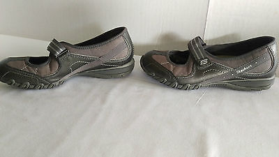 Skechers Women's 6M Gray Leather Glitter Slide On Causal Mary Jane Loafer Shoes
