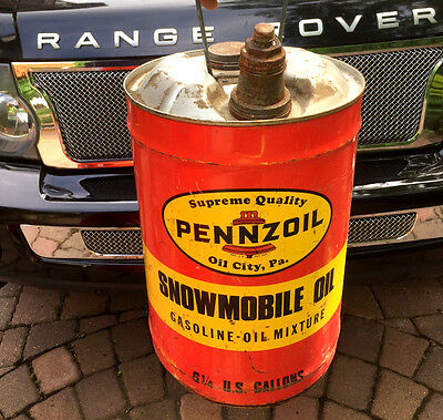 Vintage Pennzoil Outboard Snowmobile Gas Oil Can Sign Boat Motor 6 Gallon