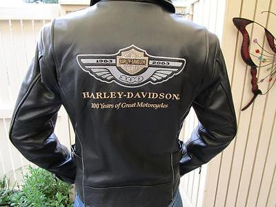 Harley Davidson Womens Leather Motorcycle Jacket, Size Small, Anniversary Edit