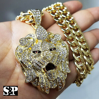 "Gold PT CZ Big Lion Head Pendant & 10mm 30"" Cuban Heavy Chain Hip Hop Necklace"