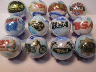 BSA MOTORCYCLES 5/8 size glass marbles collection lot + STANDS