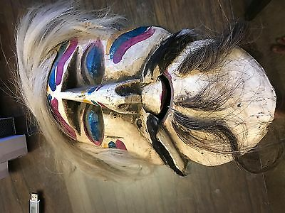 Handmade Wooden Mask vintage with Hair