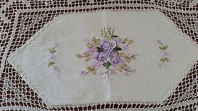 Vintage 1980s CREAM PURPLE Floral Ribbon Embroidered Lace Shabby Chic Doilie