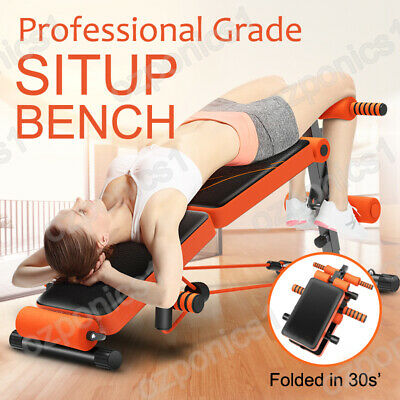 ADJUSTABLE SIT UP ABDOMINAL BENCH PRESS At Home Gym For Ab Exercise & Fitness