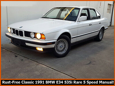 1991 BMW 5-Series 535I 1991 BMW 535I E34! 99.9% RUST-FREE ORIGINAL!  COLD A/C, LEATHER + RARE 5 SPEED!