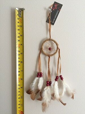 Dream catcher NEW 5cms x 28cms Beads Feathers And Ribbon Handmade Brown