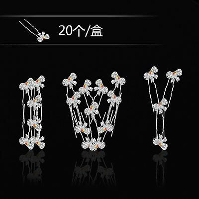 Fashion 20Pcs Wedding Bridal Flower Crystal Hairpin Hair Clips Bridesmaid Pins