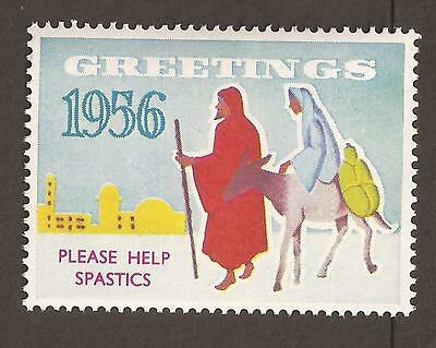 "GB Cinderella poster stamp. 1956 (MNH) Christmas, ""Please Help Spastics""nativity"