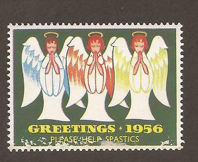 "GB Cinderella poster stamp. 1956 (MNH) Christmas, ""Please Help Spastics"" angels"