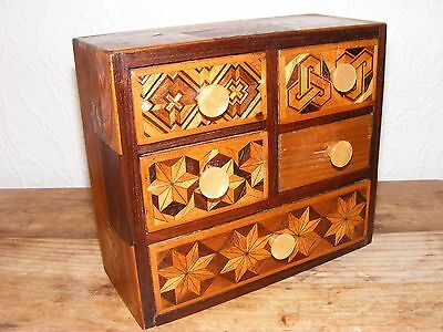 Vintage Miniature Marquetry Drawer Set (Apprentice Piece?)