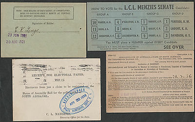 k3168) POLITICAL MENZIES ERA HOW TO VOTE - ELECTORAL CLAIM FORMS - 1920s-1960's