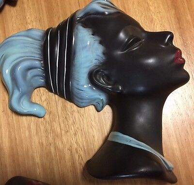 Mid Century Vintage Cortendorf Pottery Wall Mask Black Negro Lady Woman (#1)
