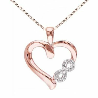 Natural Diamond Accent Infinity Heart Pendant 14k Gold Over 925 Sterling Silver