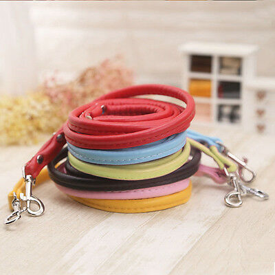 Pet Dog Cat Smooth PU Leather Leash Solid Color Long Dog Walker Lead Rope