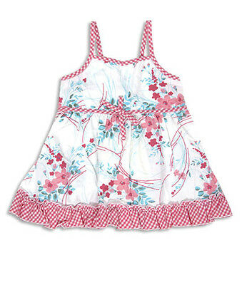 PUMPKIN PATCH Baby Girls Gingham Trim Floral Top . Size 1 . NWT . RRP $23
