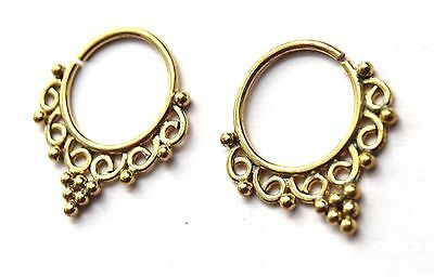 Brass Hoops Indian Ethnic Earrings Dotwork Sleeper Earrings Boho