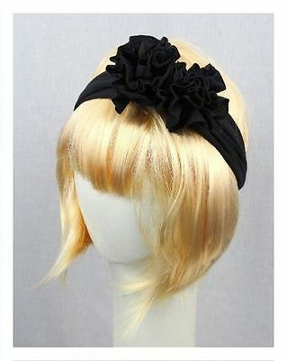 Lane Bryant Girl Woman Stretch Hair band Head fabric Flower Accessory Black