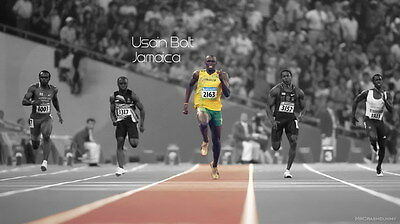 "016 Usain Bolt - 100 m Running Olympic Game Champion 42""x24"" Poster"