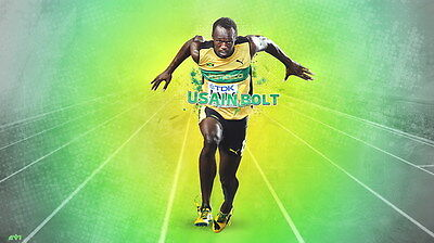 "014 Usain Bolt - 100 m Running Olympic Game Champion 42""x24"" Poster"