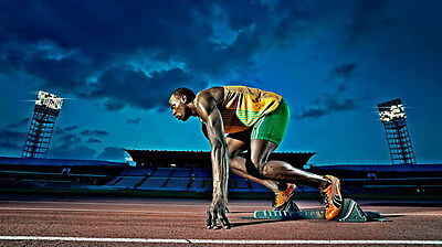 "022 Usain Bolt - 100 m Running Jamaica Game Champion Olympic 42""x24"" Poster"
