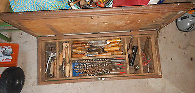 Vintage Large Wooden Tool Chest Box And Tools