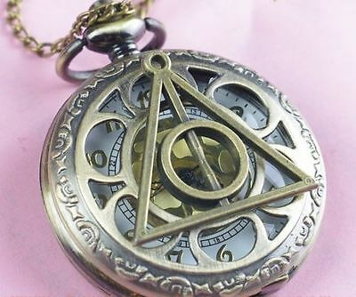 HARRY POTTER DEATHLY HALLOWS Golden Dial Bronze Pocket Watch Necklace  FREE CUFF