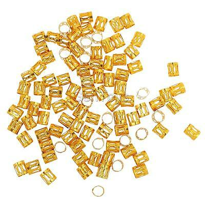 100pcs Gold Dreadlock Braid ADJUSTABLE Cuffs Beads Rings Clips Dread Tubes
