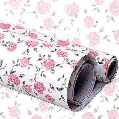 yazi Pink Peony Self Adhesive Drawer Liner Contact Paper Vinyl Sticker 200x45cm