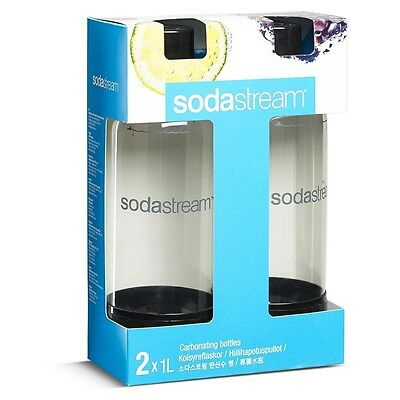 New Sodastream Carbonating Bottles 1L Black Set of 2 with FREE SHIPPING