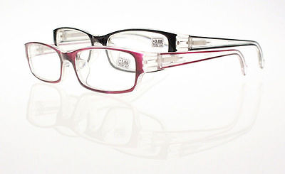 Black / Purple Translucent Frame Reading Glasses Readers +1.0 +2.0 +3.0 +4.0 New