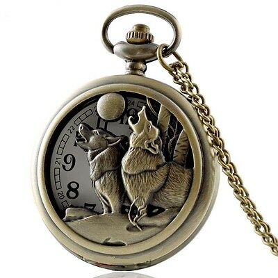 Wolf Howling at the Moon Bronze Tone Pocket Watch Pendant Necklace - Gift Idea