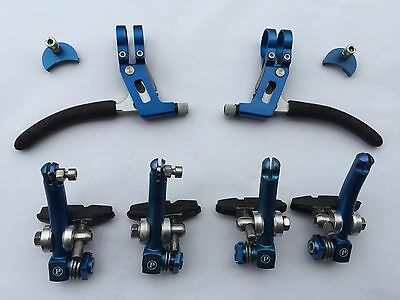 Paul's Stoplight MC Canti Brakes, Moon units & Tech Lite levers blue ano set