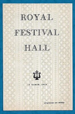 1953 Programme London Mozart Players Royal Festival Hall Conductor Blech