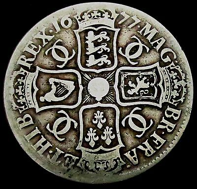 S862: 1677 Charles II Large Silver Full Crown: V.NONO, Spink 3358.  Ex Spink