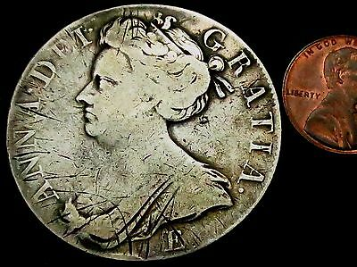 S860: 1707 Scottish Queen Anne Large Silver Full Crown: SEXTO, Spink 3600